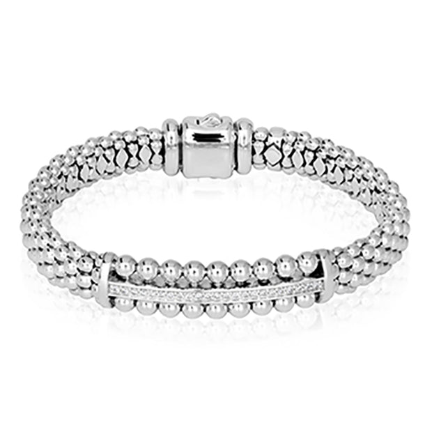 Lagos Sterling Silver Caviar Spark Collection Diamond Bracelet