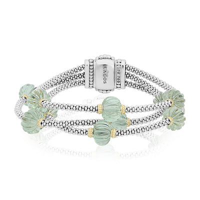 Sterling Silver Caviar Forever Collection with Green Amethyst Beads