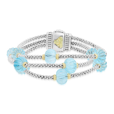 Sterling Silver Caviar Forever Collection Bracelet with Topaz Gemstones