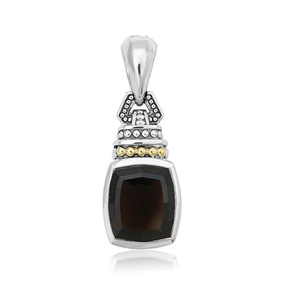 Sterling Silver and 18K Yellow Gold Caviar Color Collection Smoky Quartz Pendant