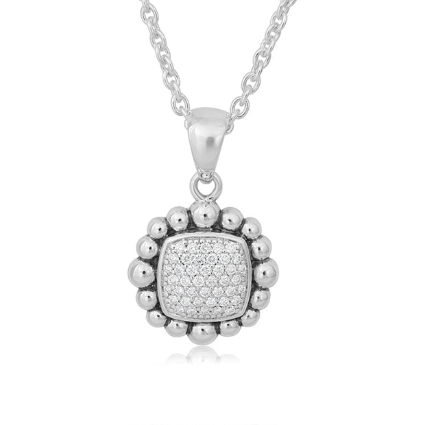 Sterling Silver Caviar Spark Collection Diamond Necklace