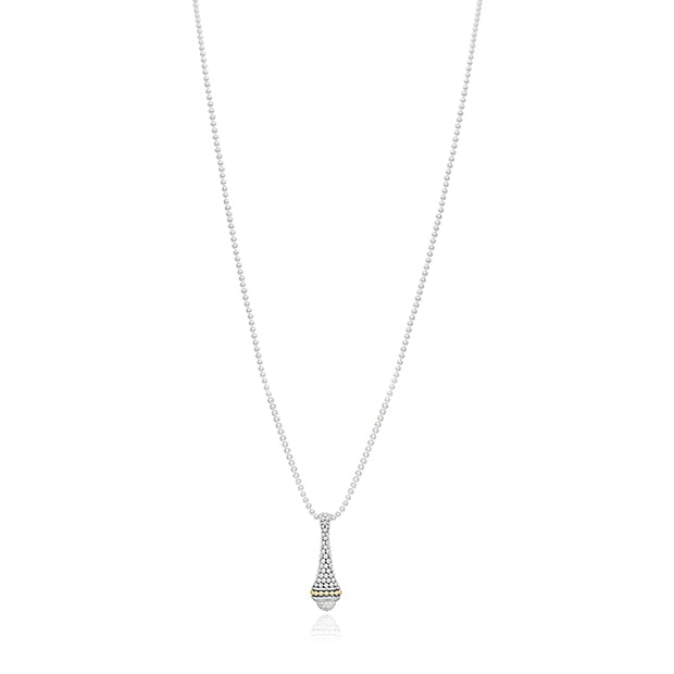 Sterling Silver Caviar Collection Diamond Pendant Necklace