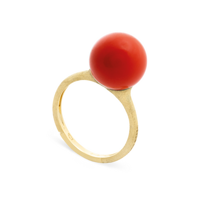 18K Yellow Gold Africa Boules Collection Carnelian Bead Ring