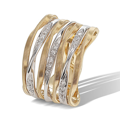 18K Yellow and White Gold Marrakech Onde Collection Seven Row Diamond Ring