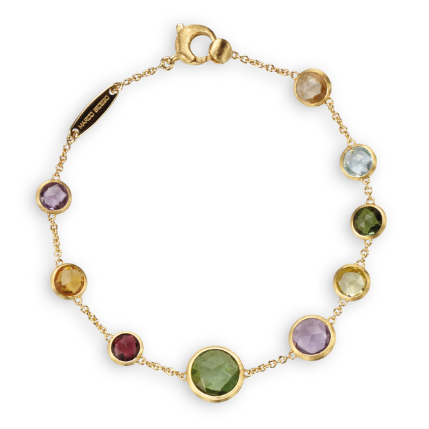 18K Yellow Gold Jaipur Colletion Multi-Color Stone Bracelet