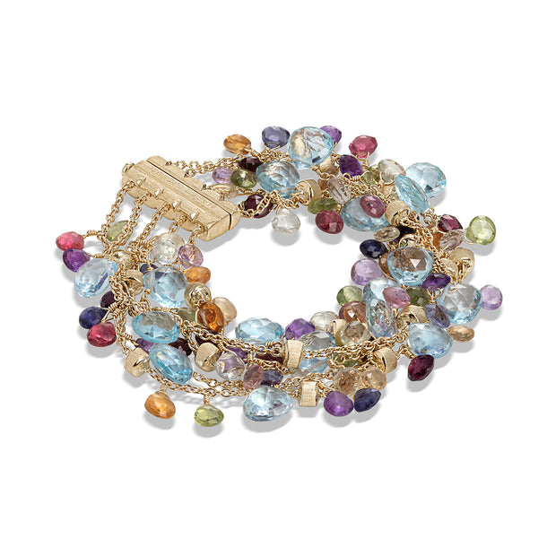 18K Yellow Gold Paradise Collection Blue Topaz and Mix Gemstone Bracelet