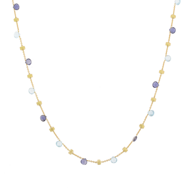 18K Yellow Gold Paradise Collection Iolite Blue Topaz and Bead Necklace