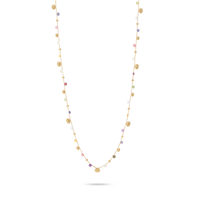 18K Yellow Gold Paradise Collection Mixed Gemstone Link Necklace