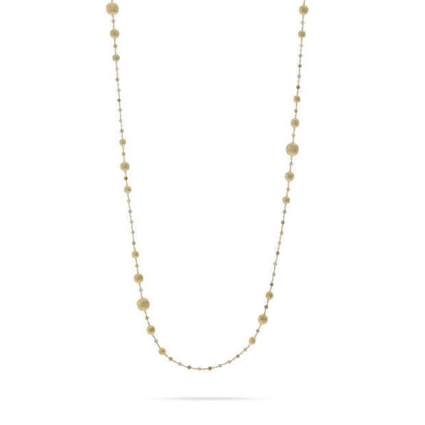 18K Yellow Gold Africa Collection Multicolor Diamond Bead Necklace