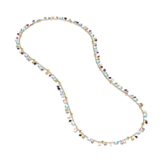 18K Yellow Gold Paradise Collection Blue Topaz and Gemstone Necklace