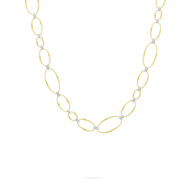 18K Yellow and White Gold Marrakech Onde Oval Link Diamond Necklace