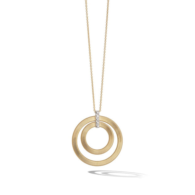 18K Yellow Gold Masai Collection Double Circle Diamond Pendant Necklace