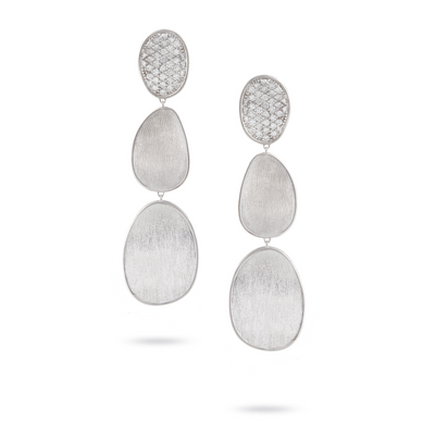 18K White Gold Lunaria Collection Triple Station Drop Earrings
