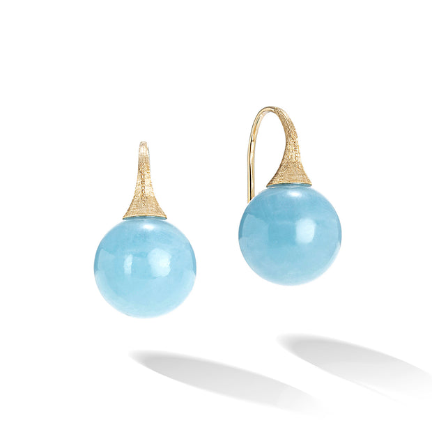 18K Yellow Gold Africa Boules Collection Aquamarine Bead Drop Earrings