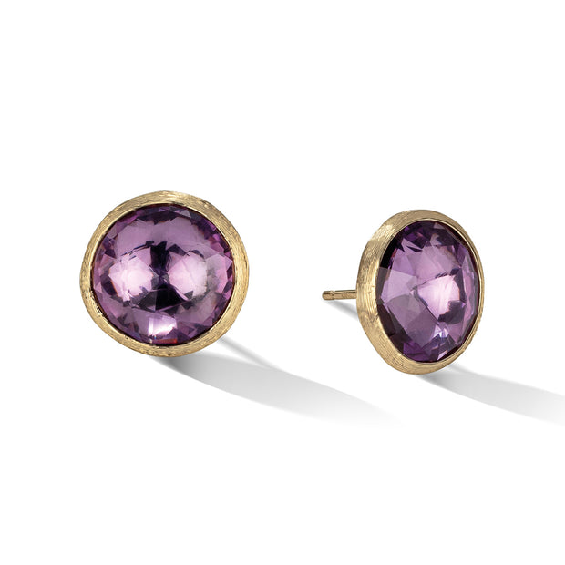 18K Yellow Gold Jaipur Collection Large Amethyst Stud Earrings