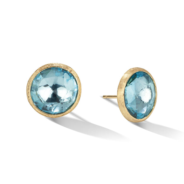 18K Yellow Gold Jaipur Collection Large Blue Topaz Stud Earrings