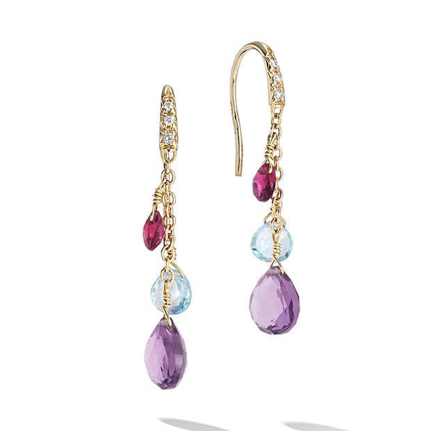 18K Yellow Gold Amethyst Gemstone and Diamond Drop Earrings
