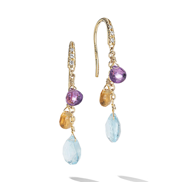 18K Yellow Gold Blue Topaz Gemstone and Diamond Drop Earrings