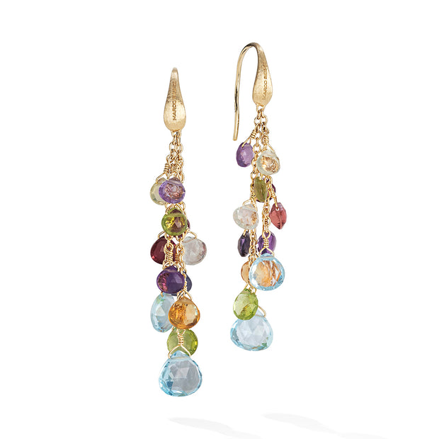 18K Yellow Gold Paradise Collection Blue Topaz and Gemstone Drop Earrings