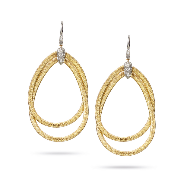 18K Yellow Gold Il Cairo Collection Medium Diamond Drop Earrings