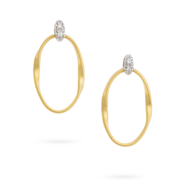 18K Yellow and White Gold Marrakech Onde Collection Diamond Earrings