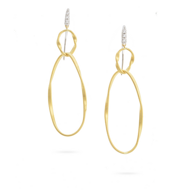 18K Yellow and White Gold Marrakech Onde Diamond Drop Earrings
