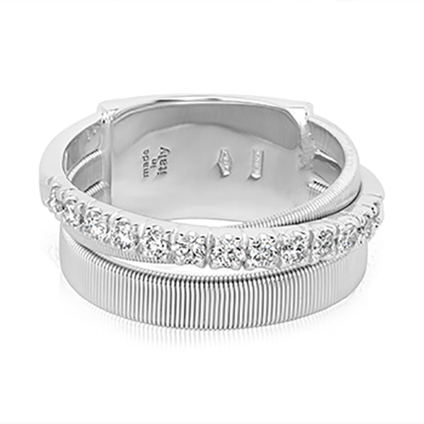 18K White Gold Masai Collection Hand Coiled Ring With Round Diamonds