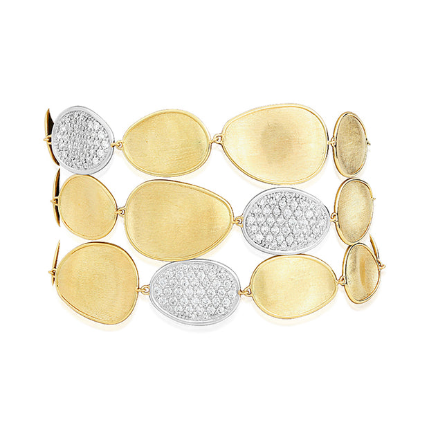 18K Yellow Gold Lunaria Collection Three Row Oval Link Bracelet with Diamonds