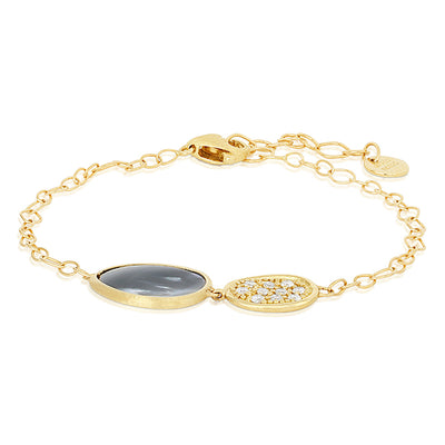 18K Yellow Gold Lunaria Collection Bracelet Black Mother Of Pearl and Diamond