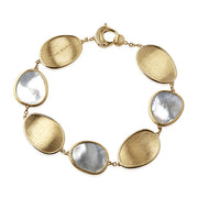 18K Yellow Gold Lunaria Collection Mother Of Pearl Oval Bracelet