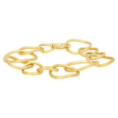 18K Yellow Gold Luce Collection Hand Engraved Link Bracelet