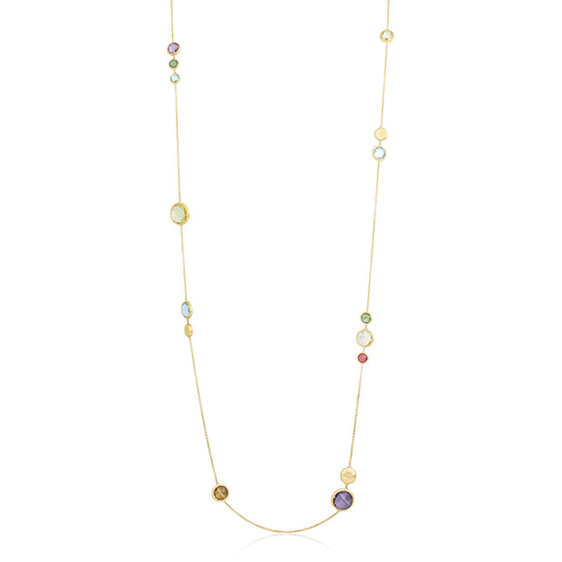 18K Yellow Gold Jaipur Multicolored Stone Necklace
