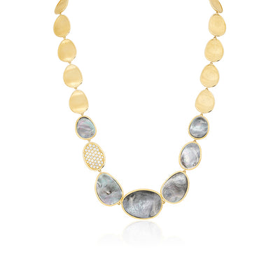 18K Yellow Gold Lunaria Collection Black Mother of Pearl and Diamond Necklace