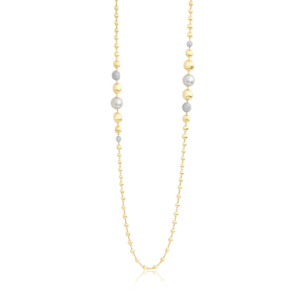 18K Yellow Gold Africa Collection Pearl and Diamond Necklace