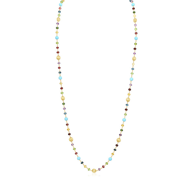 18K Yellow Gold Africa Collection Turquoise and Bead Necklace