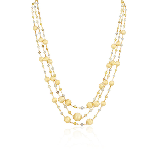 18K Yellow Gold Paradise Collection three Strand Necklace