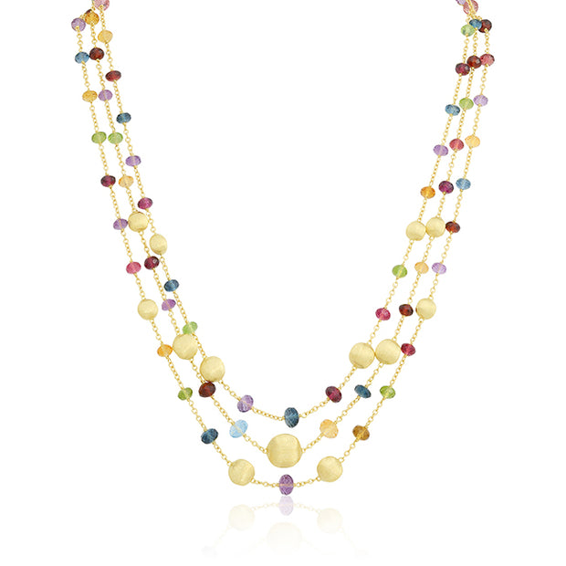 18K Yellow Gold ad Mixed Bead Three Strand Necklace