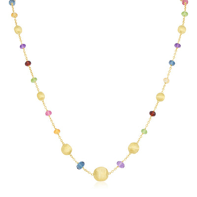 18K Yellow Gold Africa Collection Multi Colored Gemstone Necklace