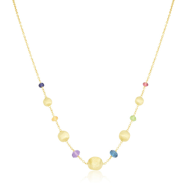 18K Yellow Gold Africa Collection Mixed Colored Bead Necklace