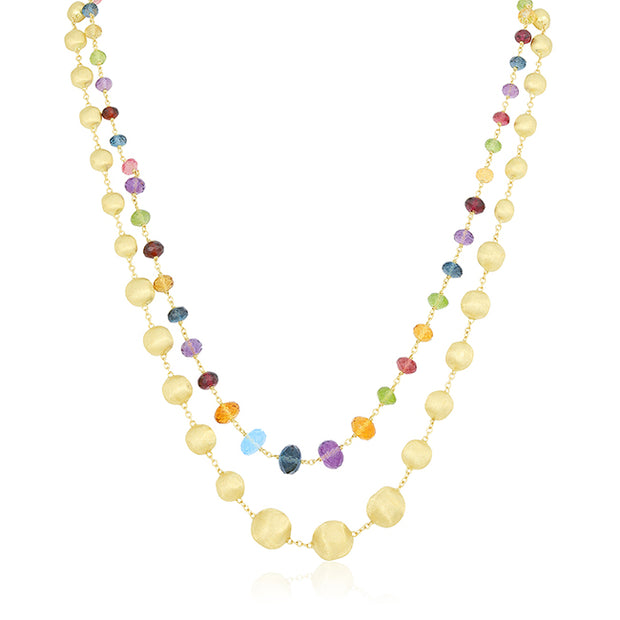 "18K Yellow Gold 36"" Africa Collection Mixed Gemstones Necklace"