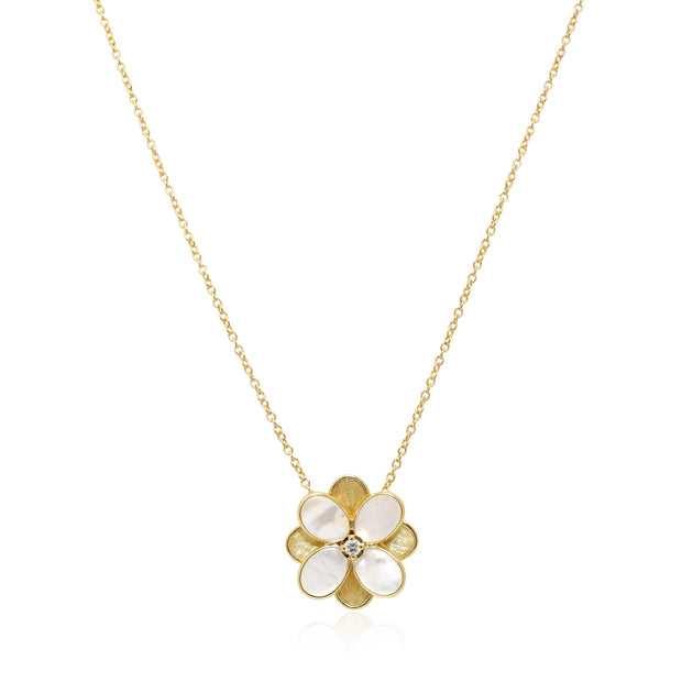18K Yellow Gold and Mother of Pearl Petali Floral Pendant Necklace