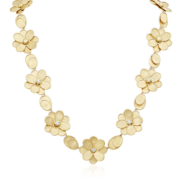 18K Yellow Gold Lunaria Collection Flower Station Necklace
