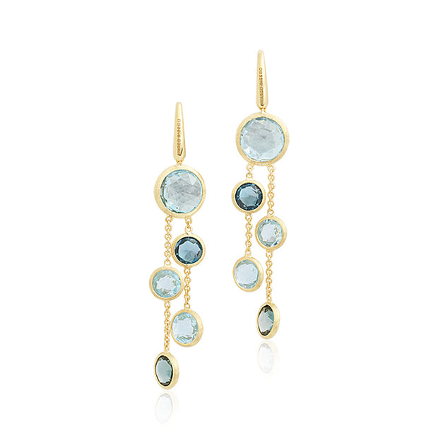 18K Yellow Gold Jaipur Collection Brused Finish Faceted Blue Topaz Drop Earrings on French Wire Backs