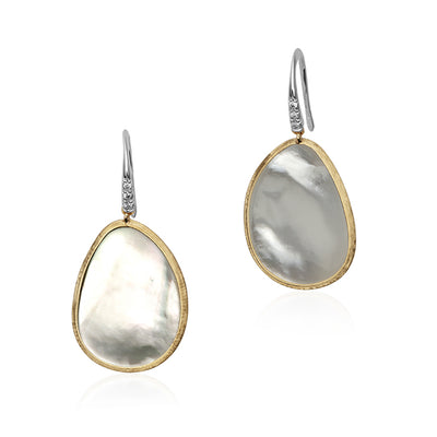 18K Yellow and White Gold Lunaria Mother of Pearl and Diamond Drop Earrings