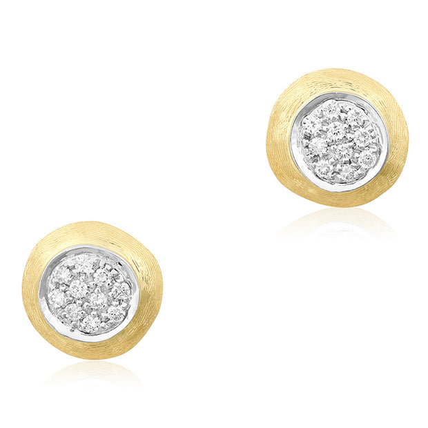 18K Yellow and White Gold Delicati Collection Diamond Stud Earrings
