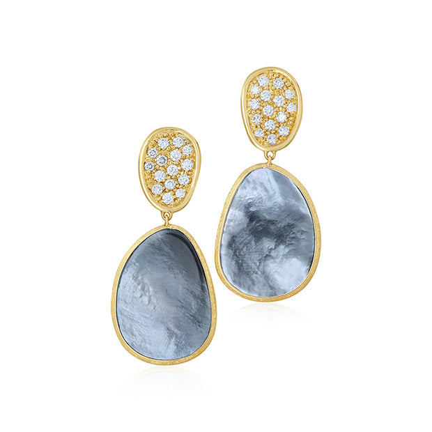 18K Yellow Gold Lunaria Collection Black Mother of Pearl and Diamond Earrings