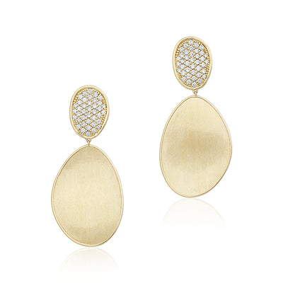 18K Yellow and White Gold Lunaria Diamond Drop Earrings