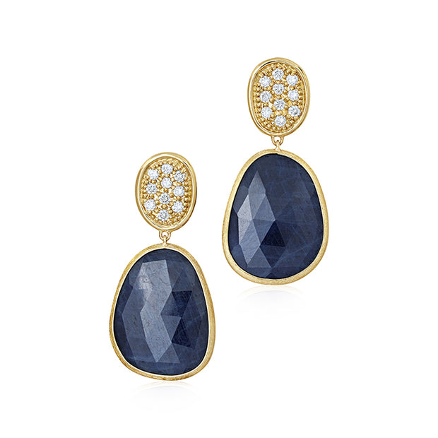 18K Yellow Gold Master Pieces Collection Blue Sapphire and Diamond Earrings
