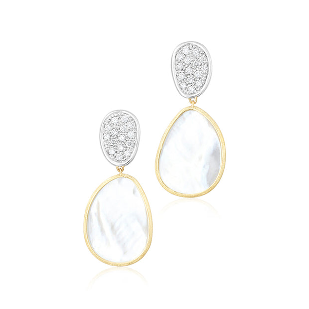 18K Yellow and White Gold Lunaria Collection Diamond Earrings