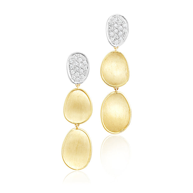 18K Yellow Gold Lunaria Collection Drop Earrings with Diamonds